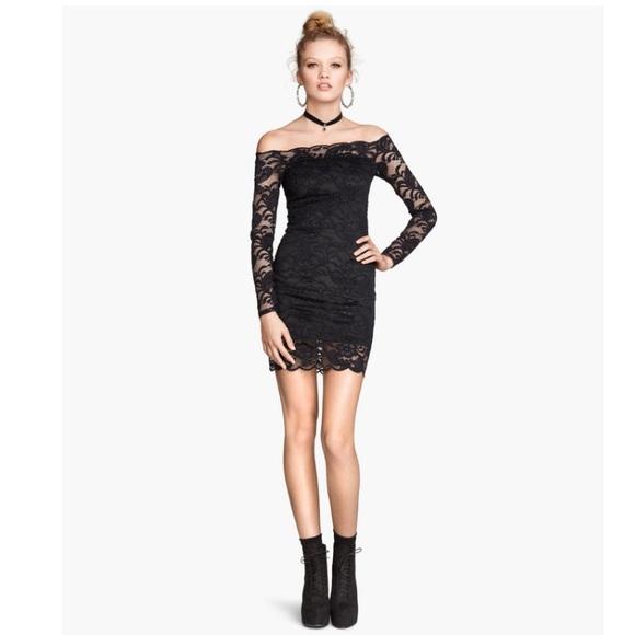 be86732325d6 H&M Dresses | Hm Off The Shoulder Navy Blue Lace Dress | Poshmark